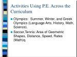 activities using p e across the curriculum