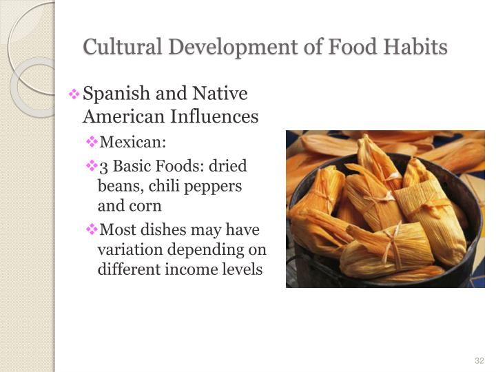 food habits and culture W hat do people in the united states eat is it meat and potatoes things have changed in the united states as the population has grown to include many different ethnic and cultural groups, and this has resulted in diverse food preferences and eating habits.