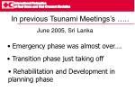 in previous tsunami meetings s