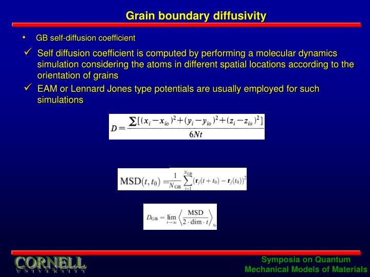 Grain boundary diffusivity