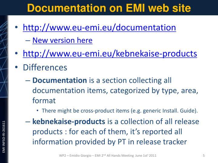 Documentation on EMI web site