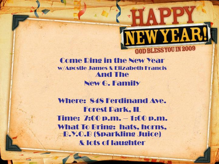 Come Ring in the New Year