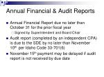 annual financial audit reports