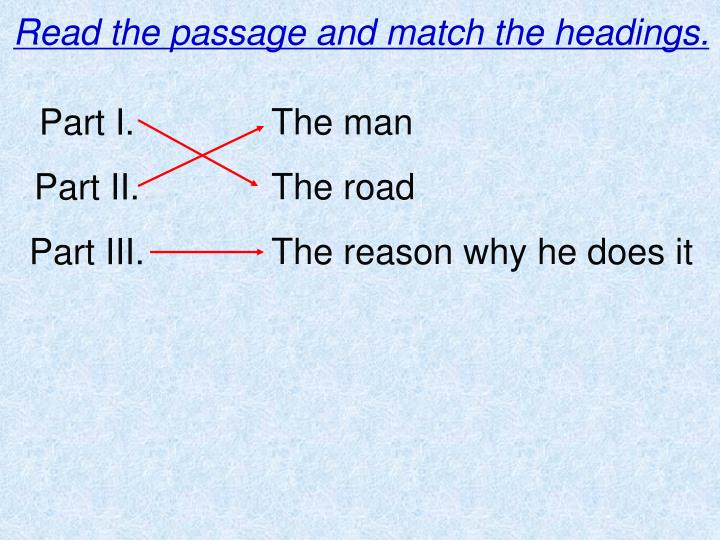 Read the passage and match the headings.