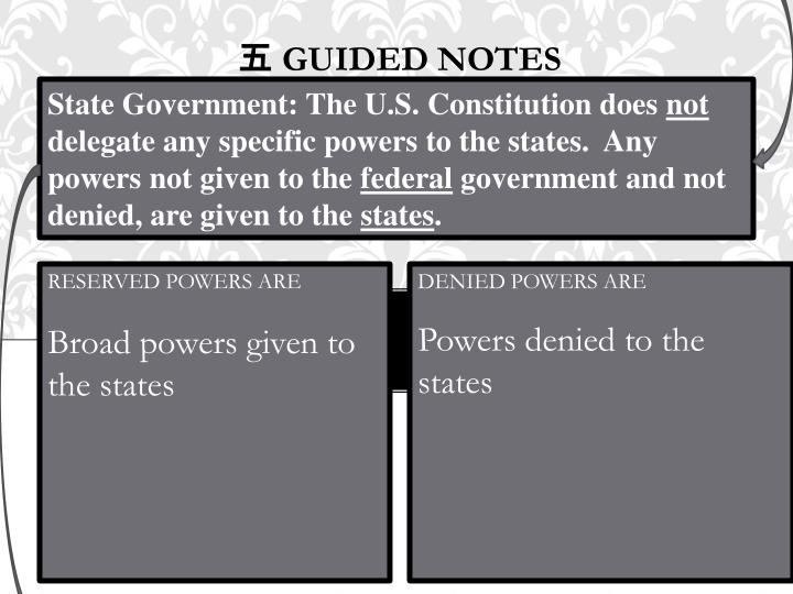 State Government: The U.S. Constitution does