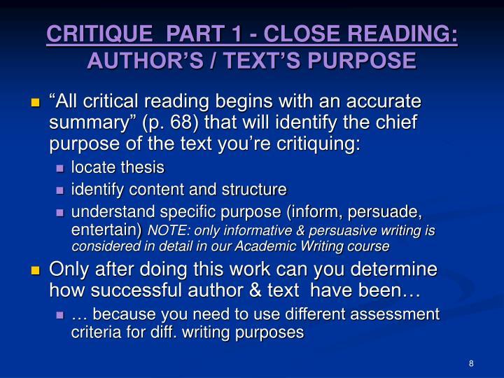 CRITIQUE  PART 1 - CLOSE READING: