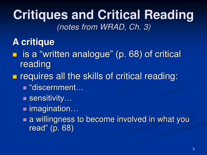Critiques and critical reading notes from wrad ch 3