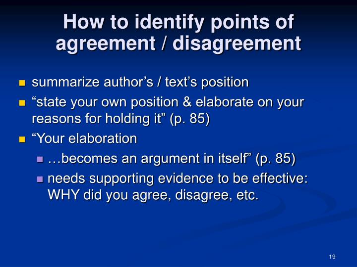 How to identify points of agreement / disagreement