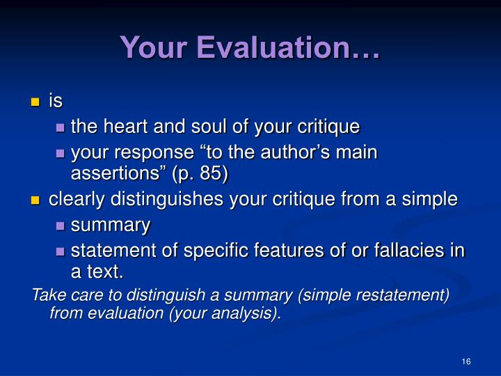 Your Evaluation…