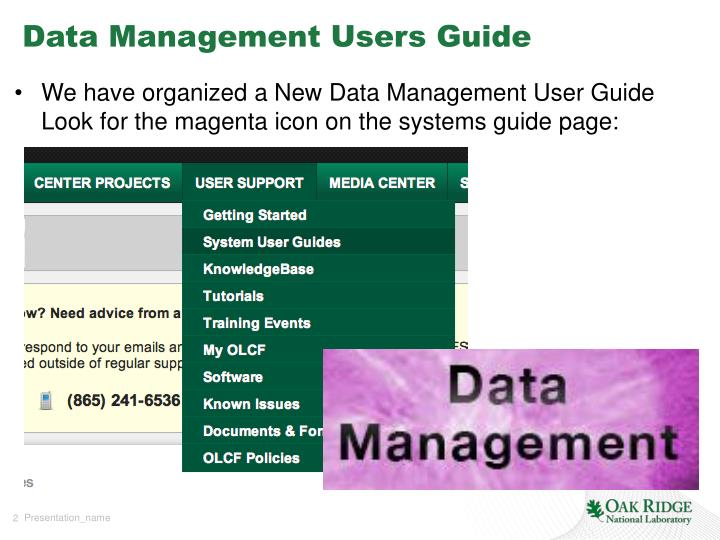 Data management users guide