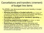 cancellations and transfers virement of budget line items