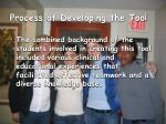 process of developing the tool2