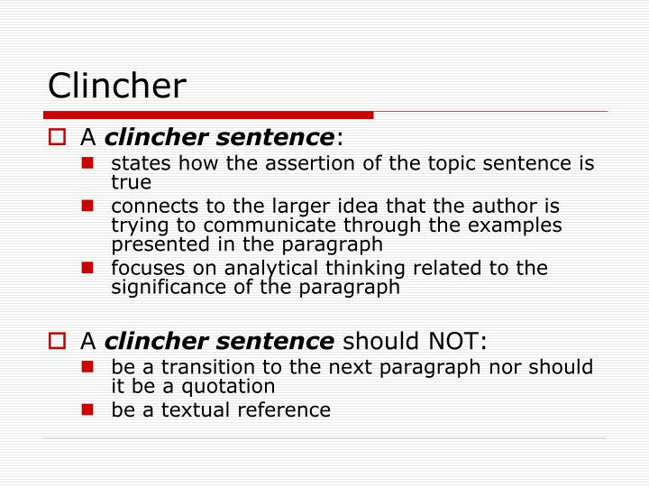 clincher paragraph examples