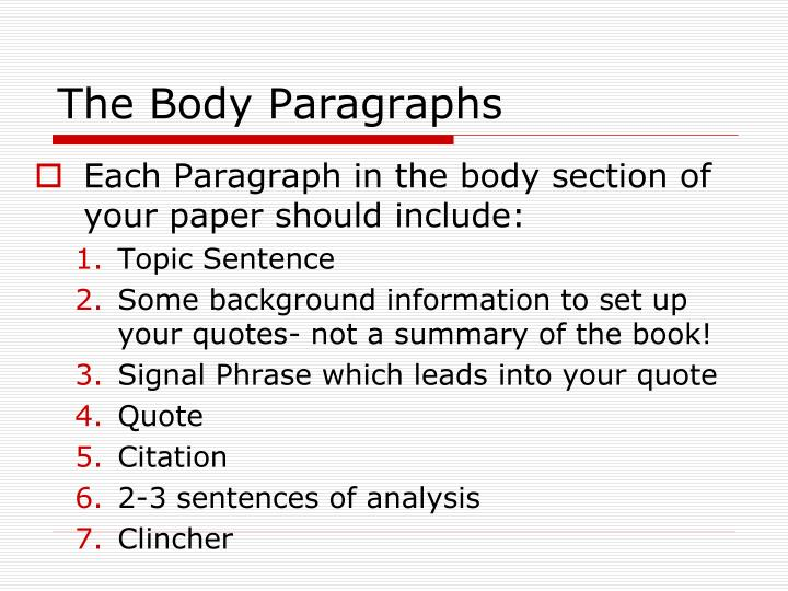 how to start a body paragraph
