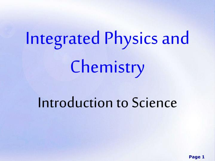 integrated physics and chemistry n.