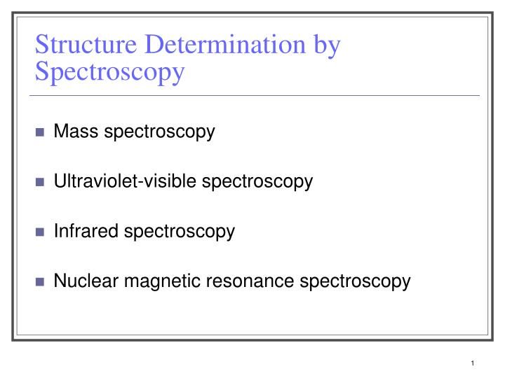 structure determination by spectroscopy n.