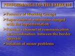 performance of the exercise
