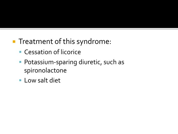 Treatment of this syndrome: