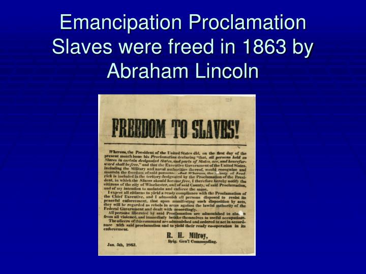 reason for emancipation proclamation Featured documents new york ratification of the bill of rights on september 25, 1790, by joint resolution,  the emancipation proclamation.