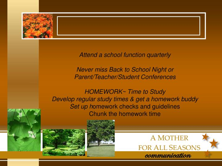 Attend a school function quarterly
