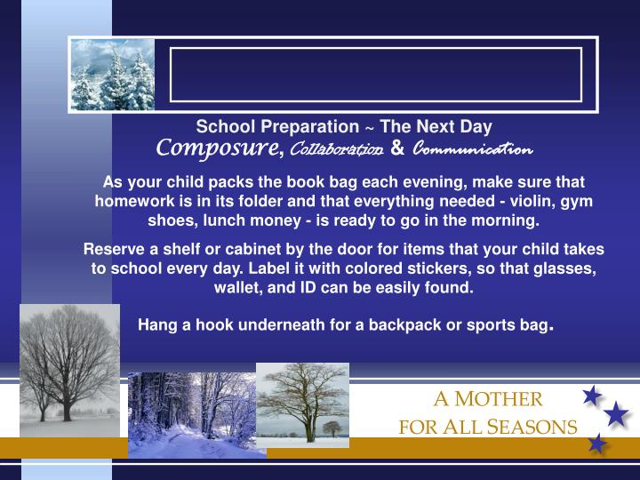 School Preparation ~ The Next Day