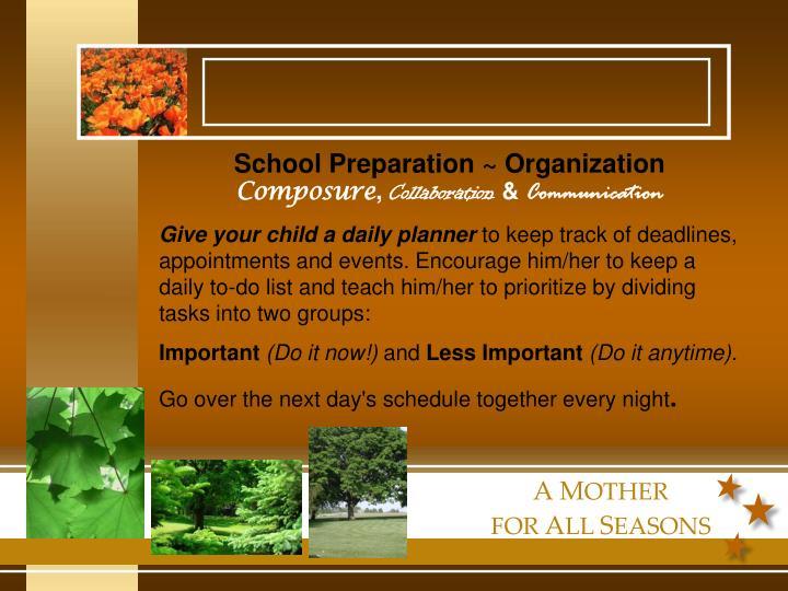 School Preparation ~ Organization