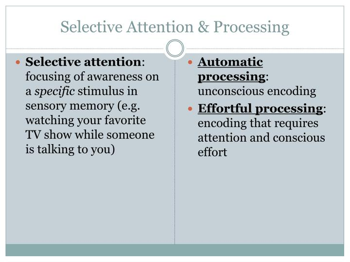 Selective Attention & Processing