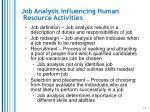 job analysis influencing human resource activities