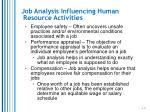 job analysis influencing human resource activities2