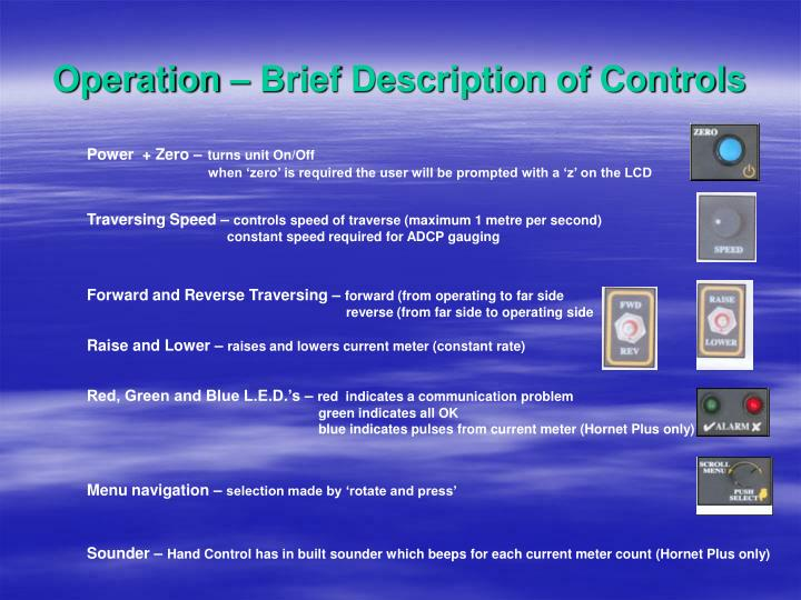 Operation – Brief Description of Controls