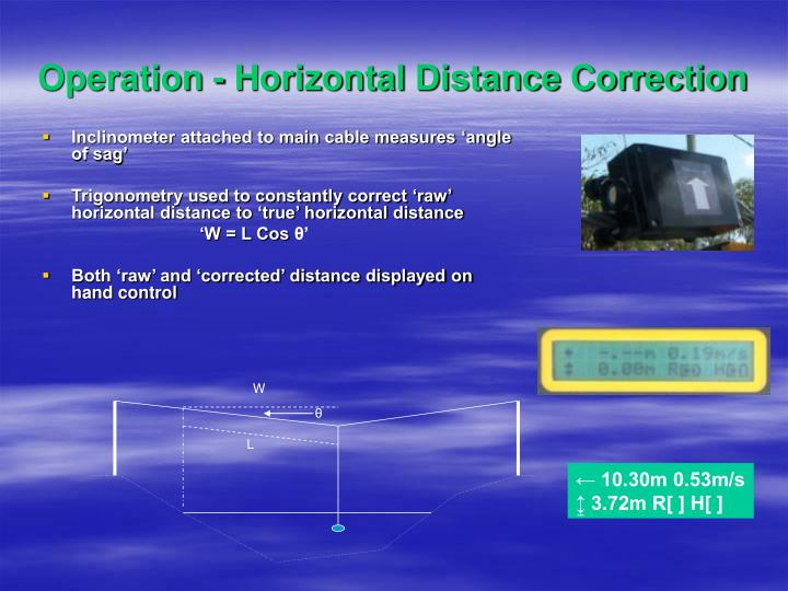 Operation - Horizontal Distance Correction