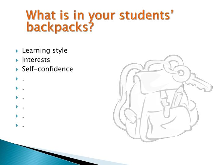What is in your students b ackpacks