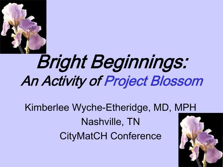 bright beginnings an activity of project blossom