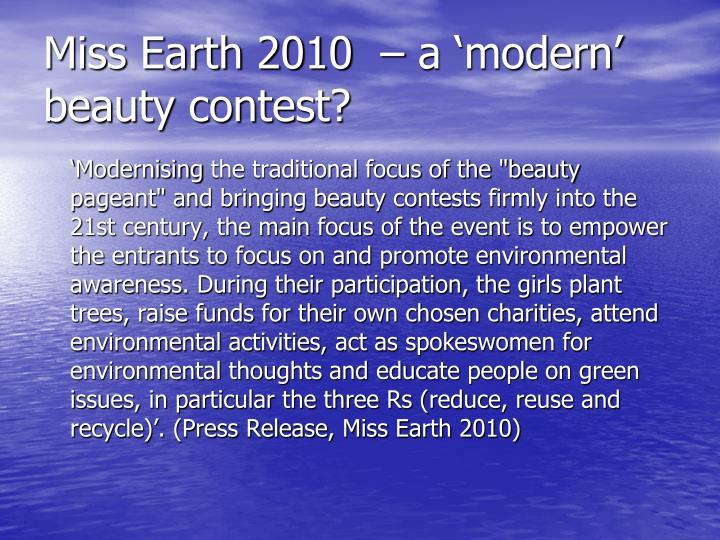 Miss earth 2010 a modern beauty contest