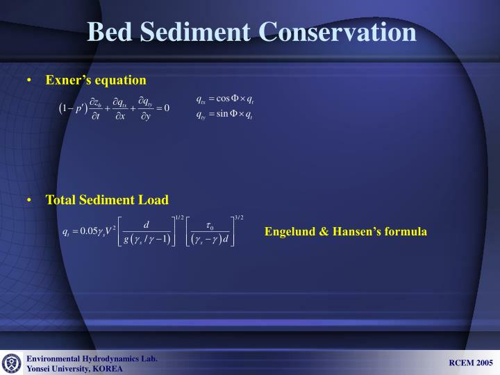 Bed Sediment Conservation