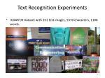 text recognition experiment s