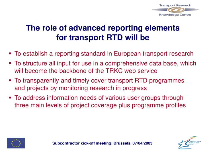 The role of advanced reporting elements