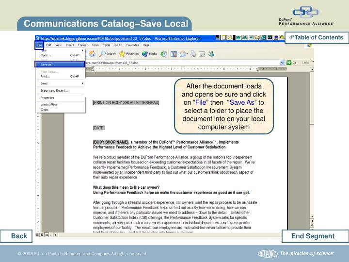 Communications Catalog–Save Local
