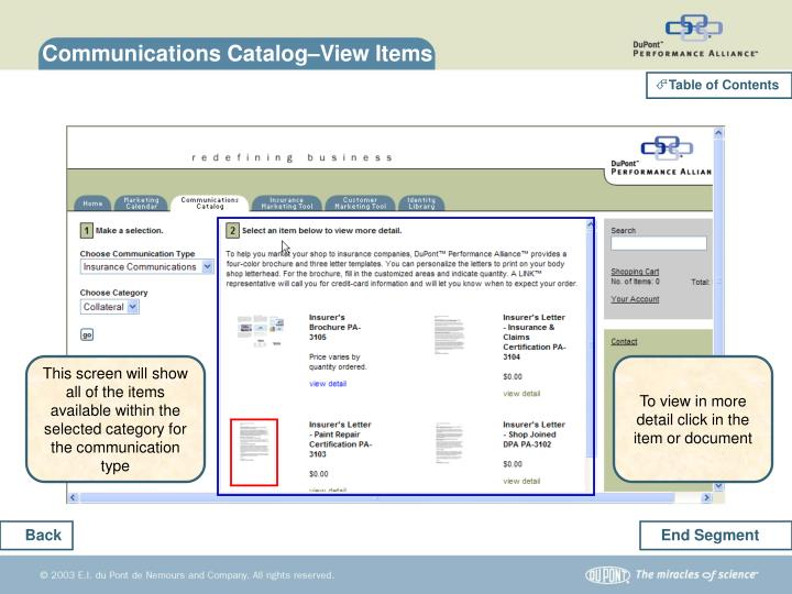 Communications Catalog–View Items