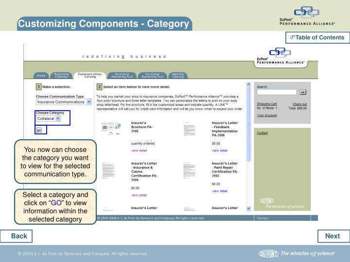 Customizing Components - Category