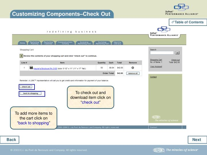 Customizing Components–Check Out