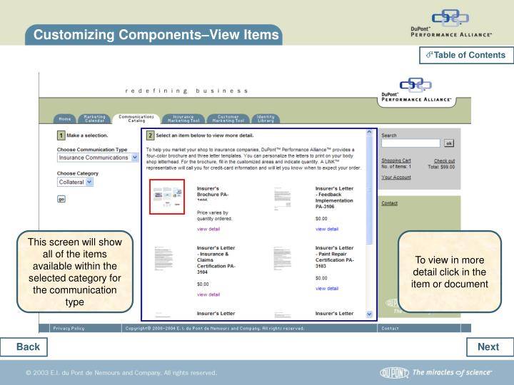 Customizing Components–View Items
