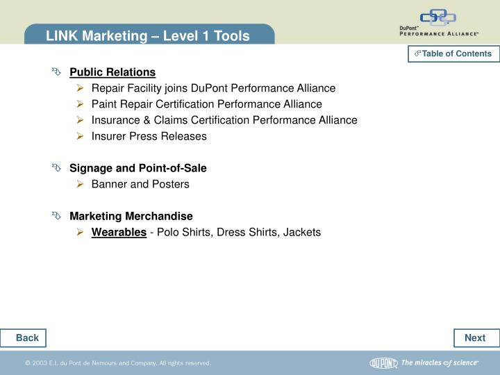 LINK Marketing – Level 1 Tools