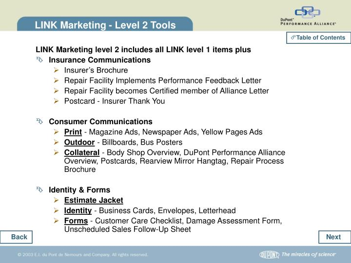 LINK Marketing - Level 2 Tools