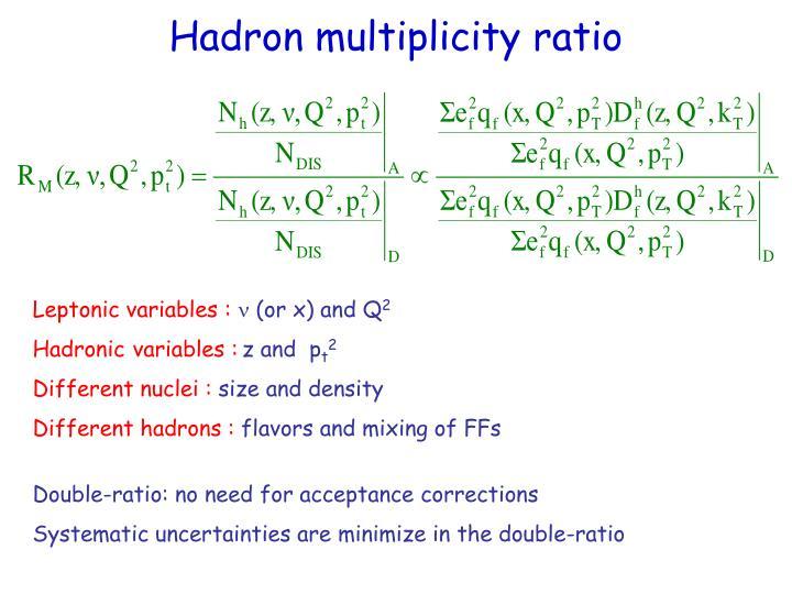 Hadron multiplicity ratio