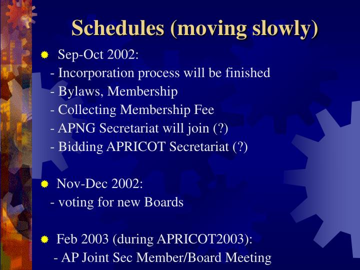Schedules (moving slowly)