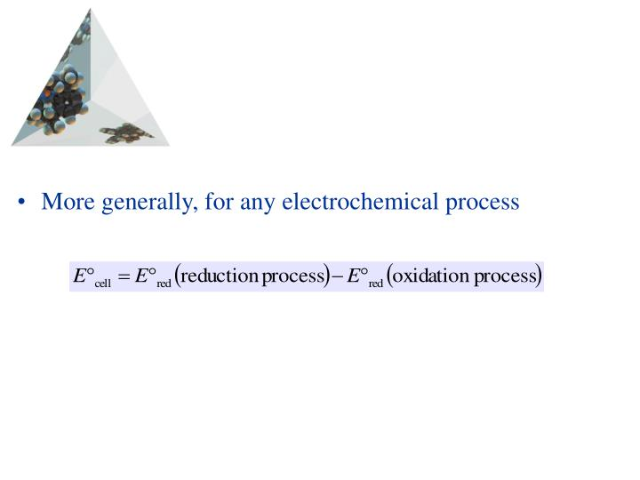 More generally, for any electrochemical process