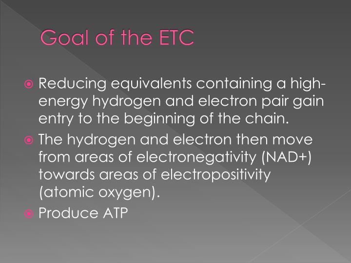 Goal of the etc