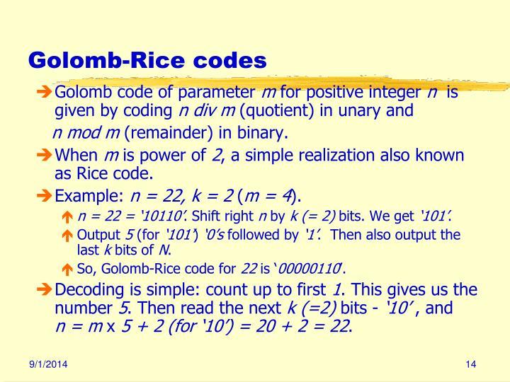 Golomb-Rice codes
