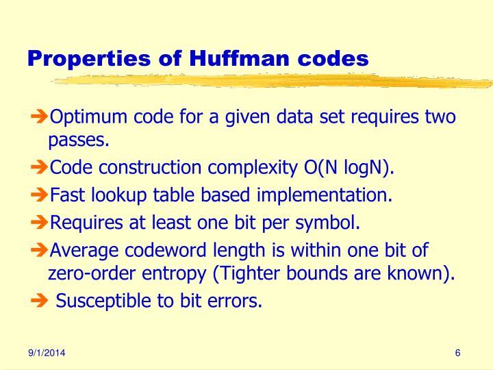 Properties of Huffman codes